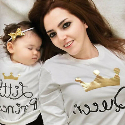 US Stock Family Matching Parent-Child Baby Kid Parents Shirt Crown King Queen