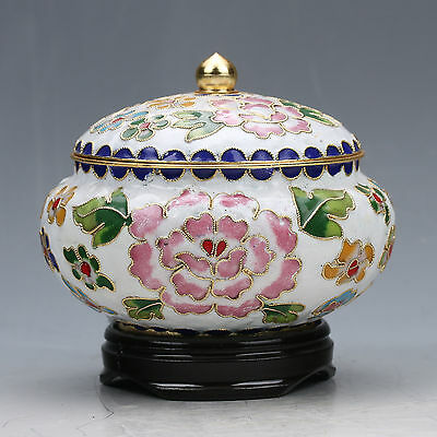 CHINESE COLLECTABLE CLOISONNE COPPER HANDWORK POENY PATTERN POT zw
