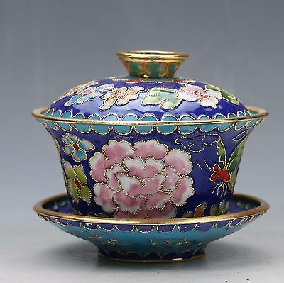 BOUTIQUE CHINESE CLOISONNE HAND-PAINTED FLOWER TEACUP & LID zp