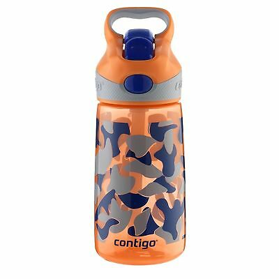 Contigo AUTOSPOUT Striker Kids Straw Water Bottle 14oz Nectarine Camo Leak Proof