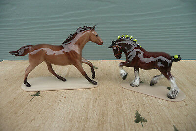 2 Hagen Renaker Miniature Figurines ~ Draft Horse & Brown Horse On Stand ~ AS IS