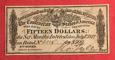 1864 $15 US Confederate States of America! Choice VF! Old US! Genuine!