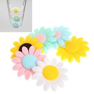 Silicone Beads Pendant Baby Teether Sunflower DIY Necklace Decor Safety Teething