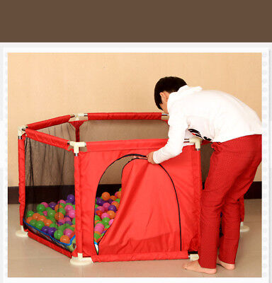 6 Sided Baby Playpen Playinghouse Interactive Kids Toddler Room W/ Safety Gate