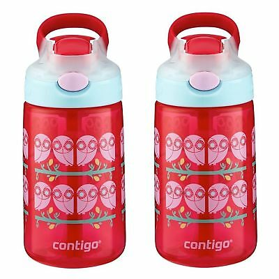 Contigo AUTOSPOUT Gizmo Flip Kids Straw Water Bottle 14oz Ruby Owl Pink (2-Pack)