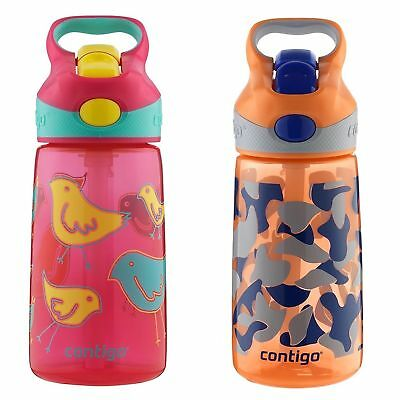 Contigo AUTOSPOUT Striker Kids Straw Water Bottle 14oz Set Bird & Orange Camo