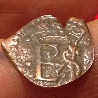 King Philip II Spanish Pirate rare small Coin Early 1500's Castle and Shield V11