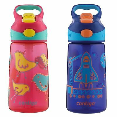 Contigo AUTOSPOUT Striker Kids Straw Water Bottle 14oz Set Pink Bird & Blast Off