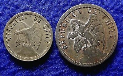 CHILE 1 Peso 1933 and 20 Centavos 1940 - 2 Fine Vintage coins (#1402)