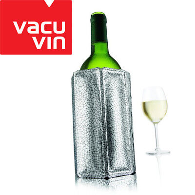 NEW Vacu Vin Rapid Ice Wine Cooler Silver Sleeve Chills Bottle in 5mins
