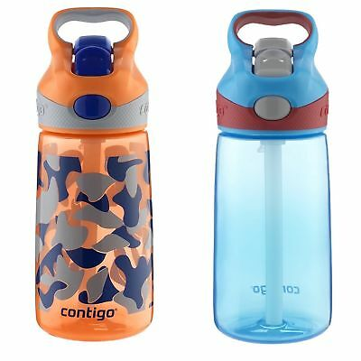 Contigo AUTOSPOUT Striker Kids Straw Water Bottle 14oz Set Orange Camo & Blue