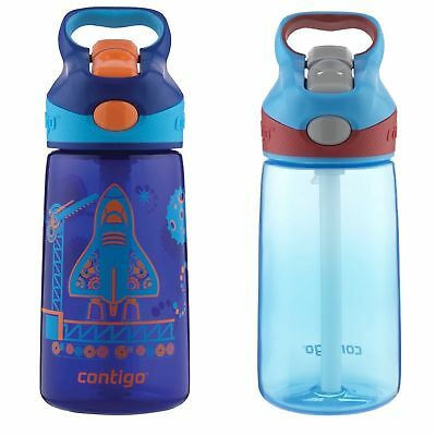 Contigo AUTOSPOUT Striker Kids Straw Water Bottle 14oz Set Blue Blast Off & Blue