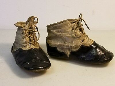 Vintage Antique Black & White Spats Style Laced Baby Shoes