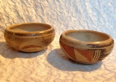 2 Vintage Old Antique Early 1900s Hopi Indian Native American Bowl Pottery Bowls