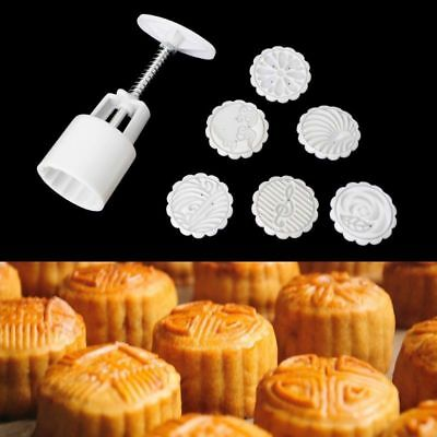 Moon Cake Mold Mould Hand Pressure Flower Motif Pastry 50g Round+6 Stamps Decor
