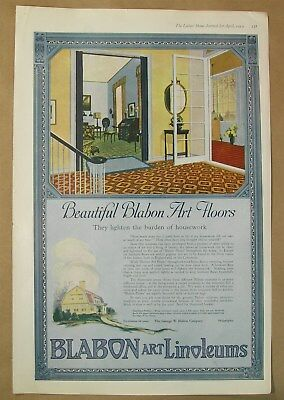 1919 Big ad Blabon Art Linoleum Floors - Watkins Mulsified Cocoanut Oil Shampoo