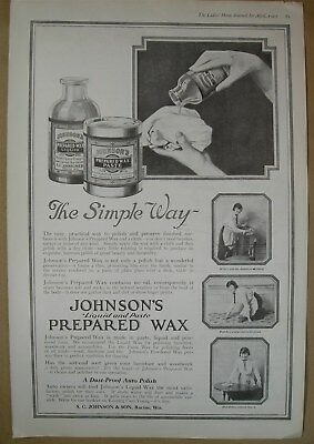 1919 Big ad - Johnson's Liquid & Paste Prepared Wax - Armour's Oats Corn Flakes