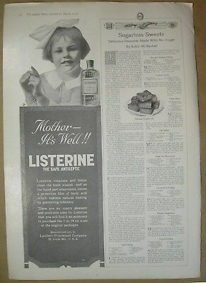 1918 Vtg Big ad Listerine sugarless sweets- Puffed grain by Prof. A. P. Anderson