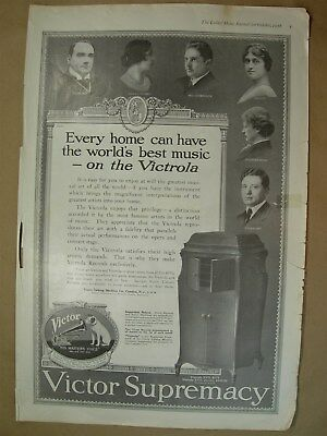 1918 Big ad Victor Supremacy Victrola His masters voice - Ivory Soap it floats