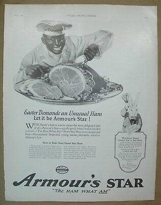 1924 Vtg Big ad Armour's Star Easter ham - Garland Stove cooking and heating