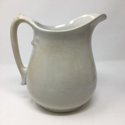 Antique White Johnson Bros Ironstone China Milk Pitcher England