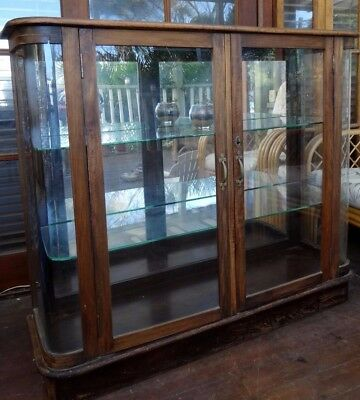 Old Curved Glass Fronted Display Cabinet