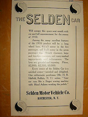 1910 SELDEN Original Ad