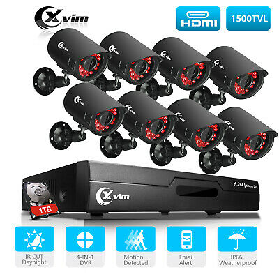 XVIM 1080P HDMI 8CH / 4CH DVR Indoor/Outdoor CCTV Security Camera System 1TB US