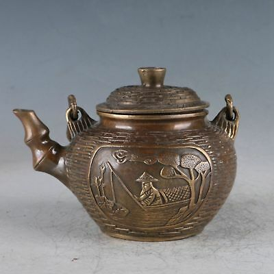 Chinese Brass Carved Fisherman Teapot Made During The Da Ming Xuande  zp