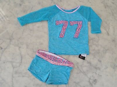 NWT $77 California Kisses dance wear outfit 2 pcs girl child's size L