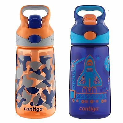 Contigo AUTOSPOUT Striker Kids Straw Water Bottle 14oz Set Blue Blast Off & Camo