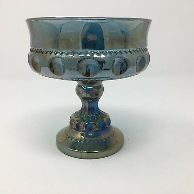 Indiana Blue Green Carnival Glass King Crown Thumbprint Compote Candy Dish