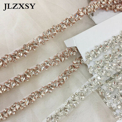Thin Rhinestone Crystal Applique Trim For Wedding Bridal Sash Bridesmaid Belt