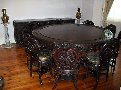 Antique Chinese Dining Setting - Table Chairs Sideboard