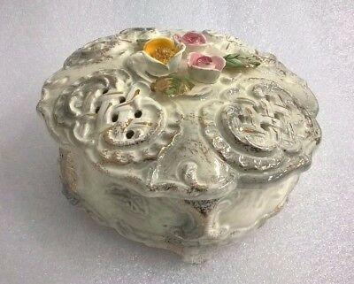 Vintage Porcelain Cookie Biscuit Jar Wild Roses Japan