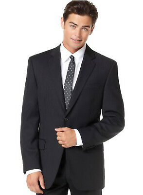 Alfani RED Men's Shadow Striped Two Button Wool Slim Fit Suit Jacket, Black 38R
