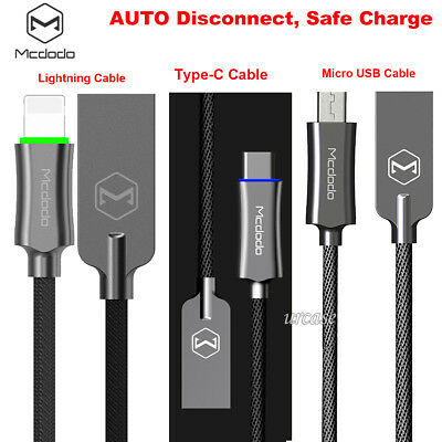 Mcdodo Smart Auto Disconnect Micro USB Lightning Type-C Data Charge Cable Lot US
