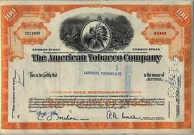 American Tobacco Company Stock Certificate Fortune Brands New Jersey