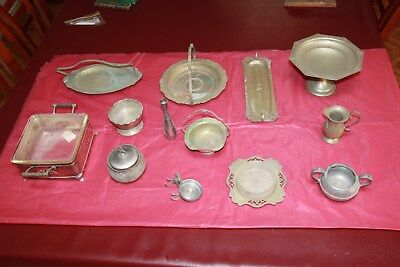 Antique silverware marked and unmarked tarnished & pewter
