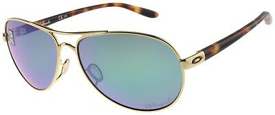 Oakley Women's Feedback Sunglasses OO4079-20 Polished Gold | Jade Polarized Lens