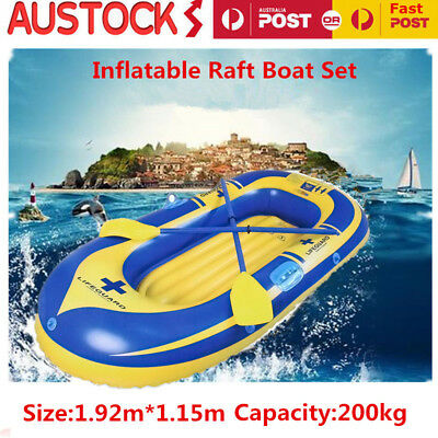 2 Person Inflatable Boat Raft Dinghy Camping Fishing Rafting with Pump Kit AU