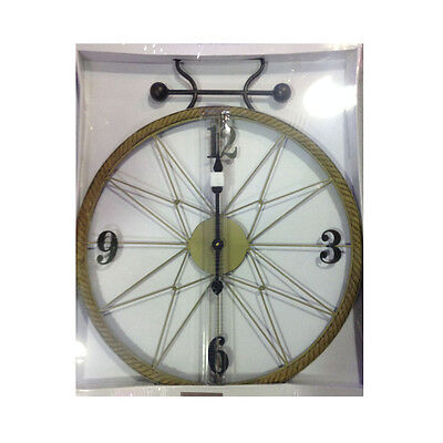 Wall clock metal and rope natural home house vintage 22 3/8in diam e 28in long