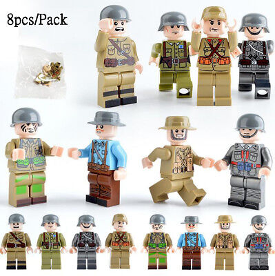 LEGO MINIFIG LOT OF 8 Random New WWII Minifigures Soldier Army Captain Blocks