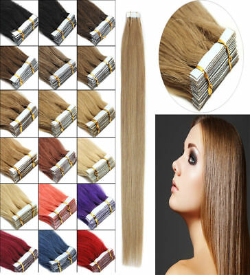 16'' Straight 7A 100% Remy Tape In Skin Human Hair Extensions 20pcs UK Stock #01