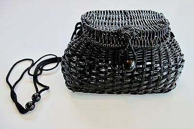 Vintage Small Black Woven Weave Bag