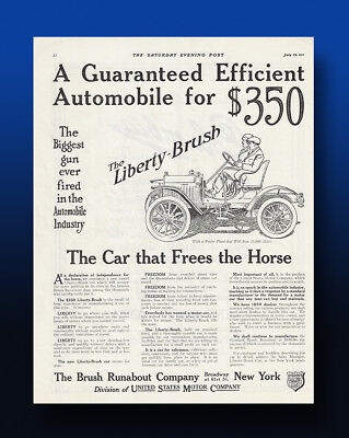 Vintage Original 1911 Brush Runabout Auto Ad. Huge Full Page Ad!