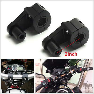 "2PC 7/8"" 22mm Motorcycle Aluminum Handle Bar Fat Bar Mount Clamp Riser Rising"