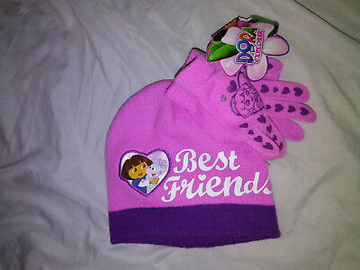 Nwt-Dora The Explorer Best Friends Skull Beanie Cap & Gloves Set One Size