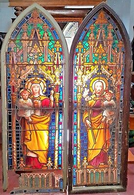 San Jose The Virgin Mary And The Infant Jesus. Leading Glass. Spain. 19Th Centur