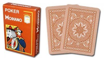 Modiano 100% Plastic Playing Cards Brown Cristallo 4 PIP JUMBO INDEX Dealer